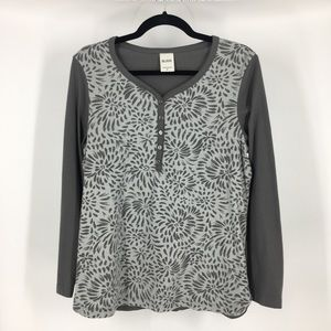 Blair casual patterned gray long sleeve tee top md